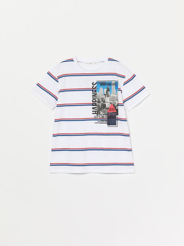 Stripe print short sleeve T-shirt
