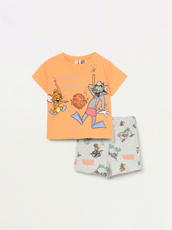 Tom & Jerry © &™ WBEI T-shirt and Bermuda shorts set