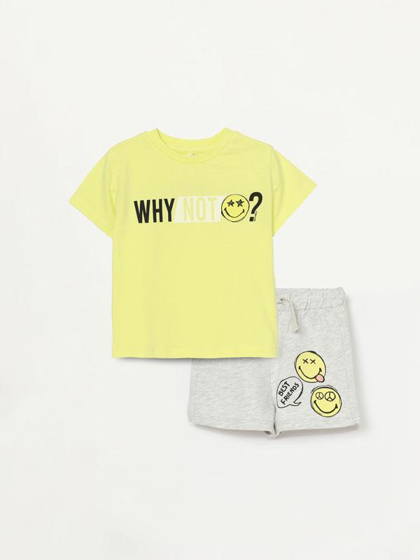 SmileyWorld® top and Bermuda shorts set