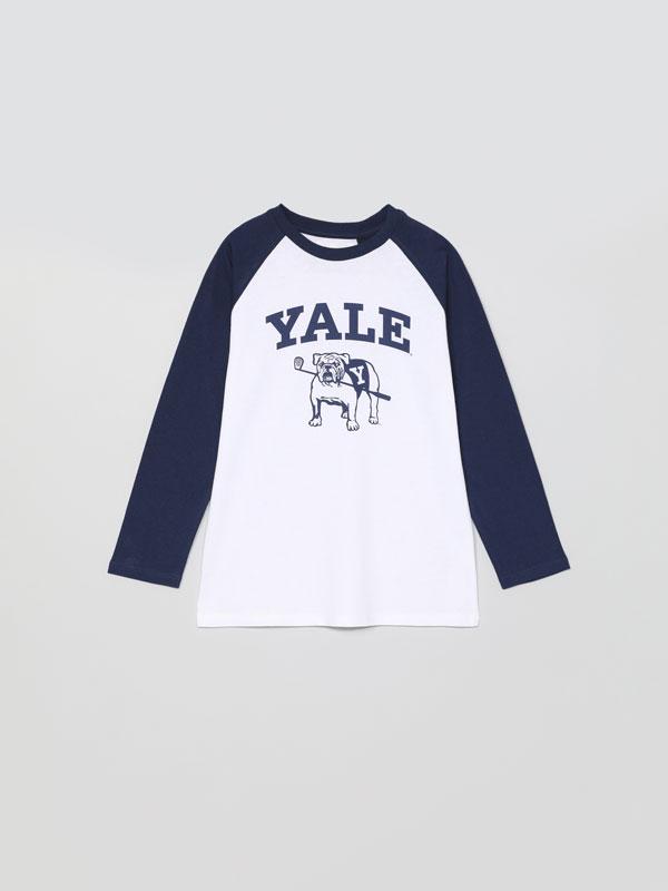 T-shirt de manga comprida com estampado Yale