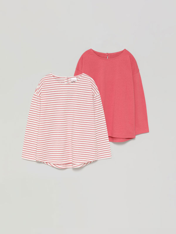 Pack of 2 basic plain and printed long sleeve T-shirts