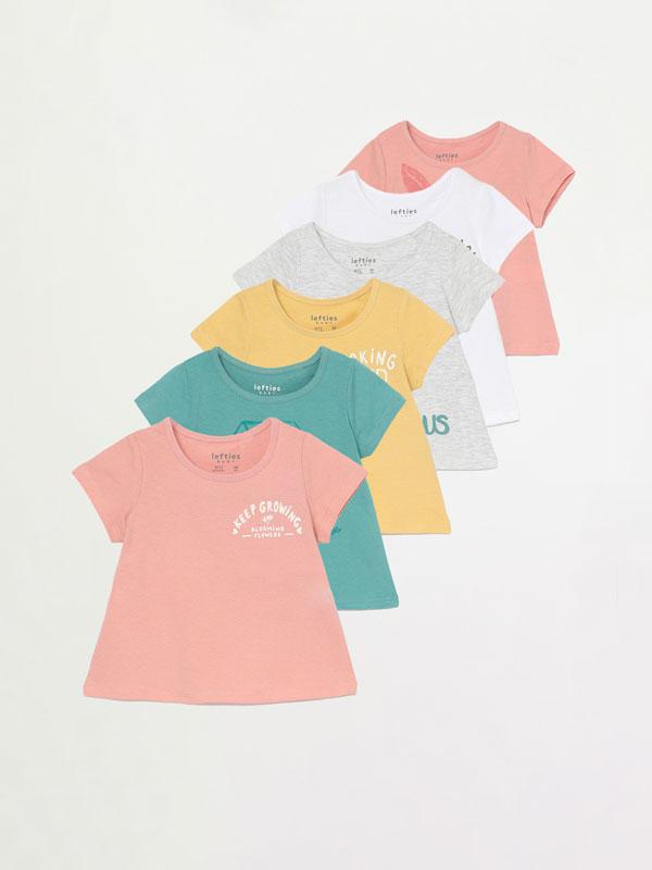 Pack de 6 camisetas lisas e estampadas de manga curta