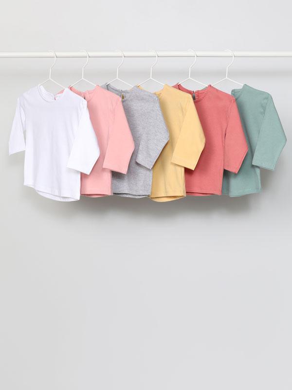 Pack de 6 camisetas básicas de manga longa.