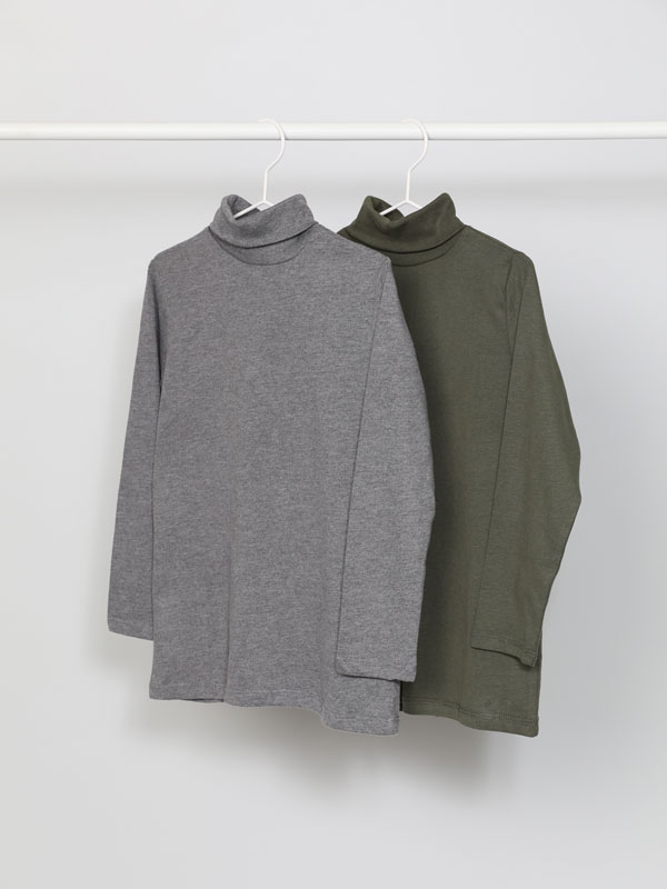 Pack of 2 basic roll neck T-shirts