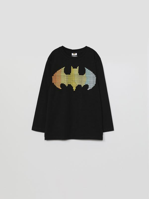 Samarreta de màniga llarga amb estampat amb efecte relleu de Batman ©DC