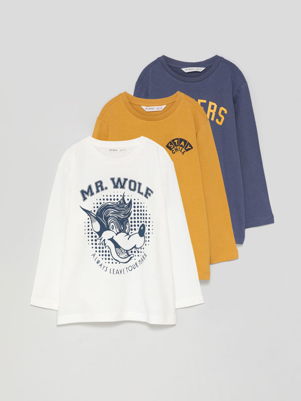 Pack of 3 printed T-shirts with long sleeves