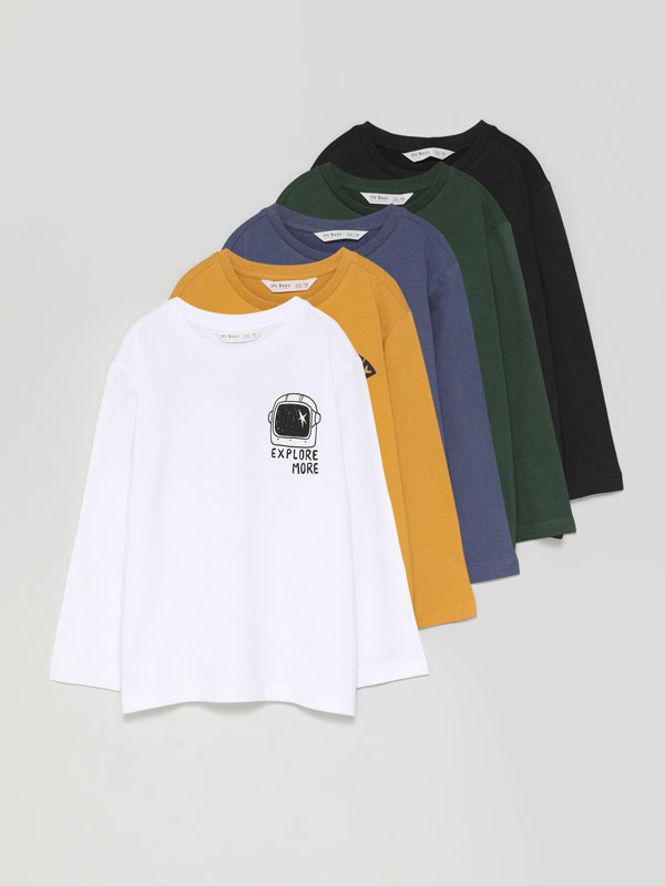 Pack of 5 printed long sleeve T-shirts