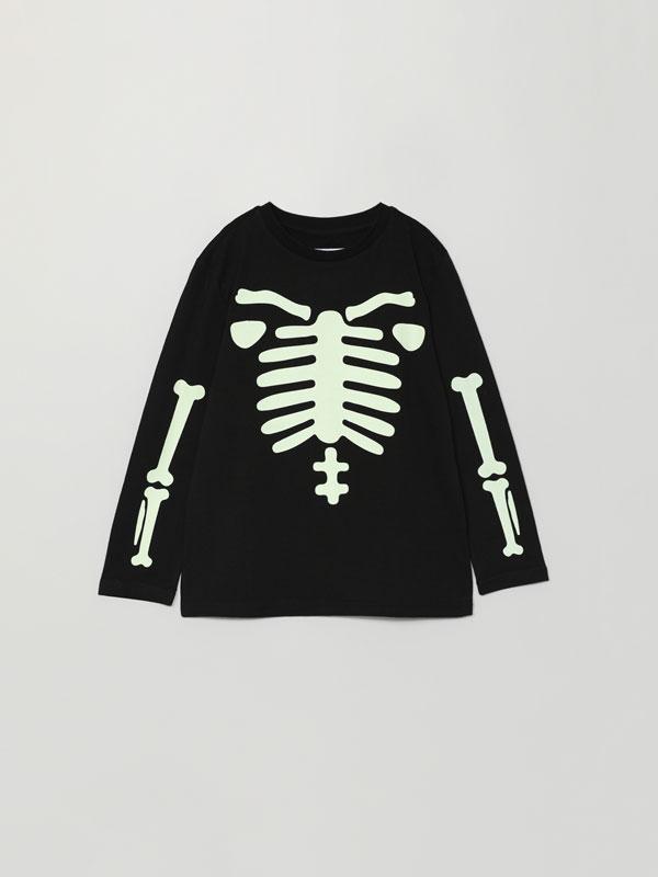 T-shirt com estampado de esqueleto Halloween