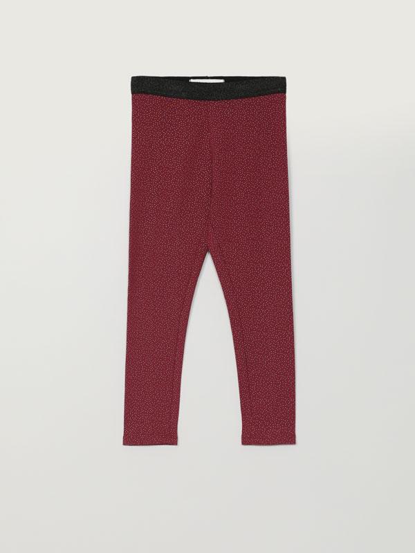 Warm leggings with shiny print