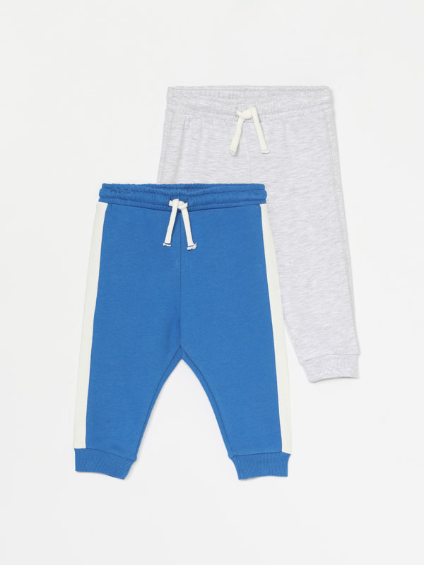 PACK OF 2 PLAIN AND STRIPE PRINT PLUSH TROUSERS