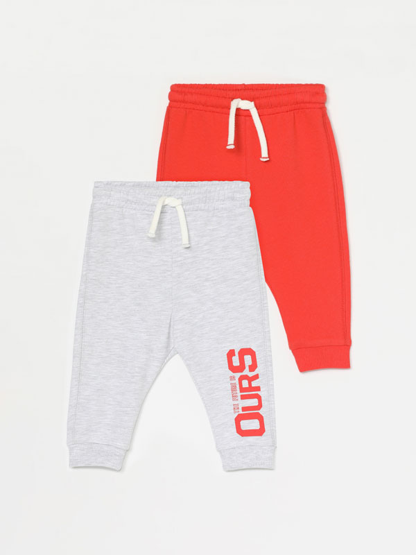 PACK OF 2 PLAIN AND SLOGAN PRINT PLUSH TROUSERS