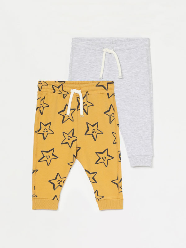 PACK OF 2 PLAIN AND PRINTED PLUSH TROUSERS