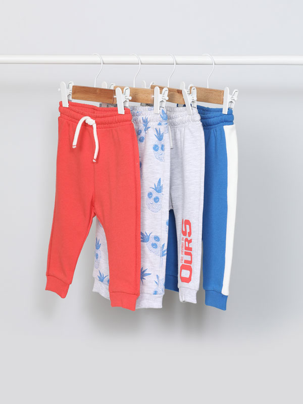 Pack of 4 plain and printed tracksuit bottoms