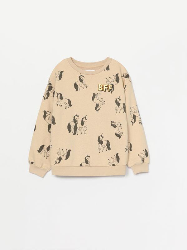 Metallic print sweatshirt