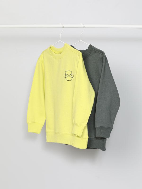 Pack of 2 plain and printed sweatshirts