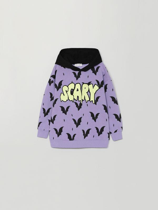 Sweatshirt com estampado de morcegos Halloween