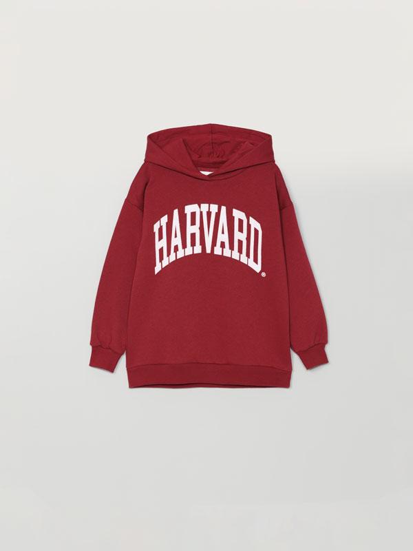 Hoodie with Harvard lettering print