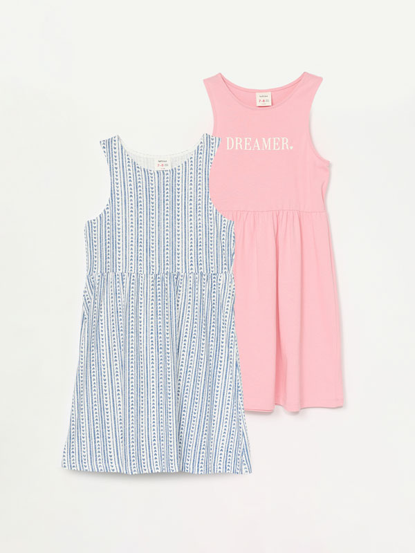 2-Pack of strappy printed dresses