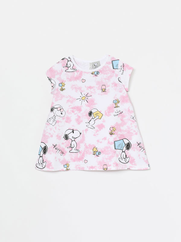 Vestido de manga curta tie-dye com Snoopy Peanuts™