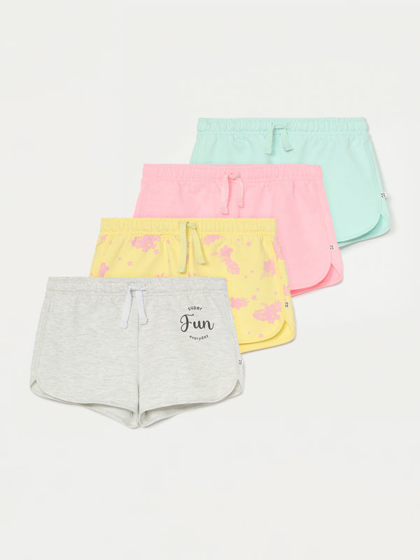 4-Pack of plain and printed plush shorts