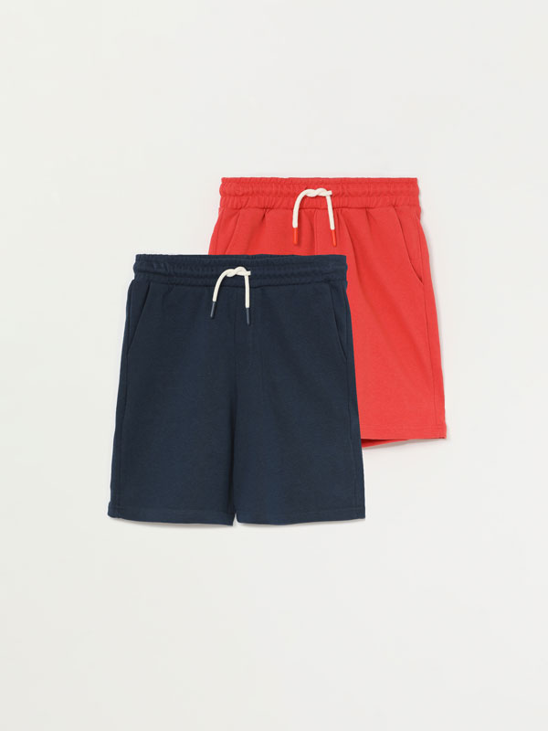 Pack de 2 calções bermuda básicos de felpa
