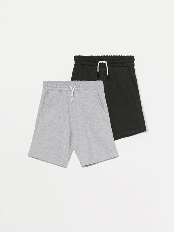 Pack of 2 pairs of basic plush Bermuda shorts