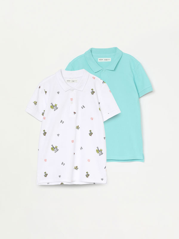 Pack of 2 plain and printed polos.