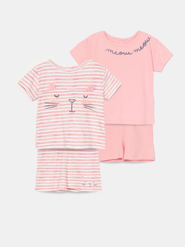 Pack de 2 conjunts de pijama estampats
