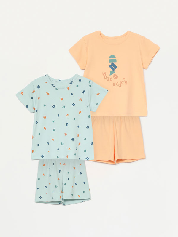 Pack de 2 pijamas estampados de duas peças