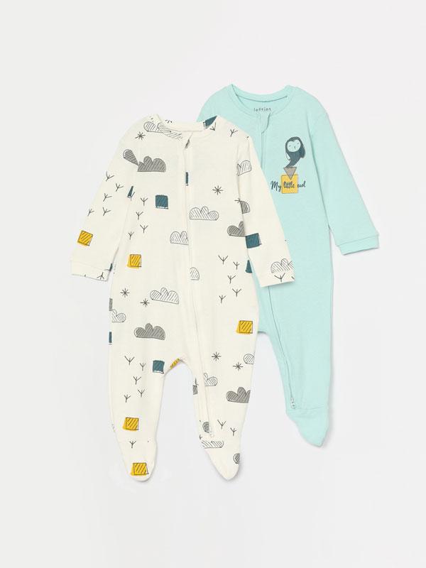 Pack of 2 printed sleepsuits