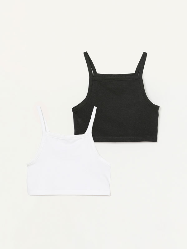 2-pack of strappy cropped T-shirts