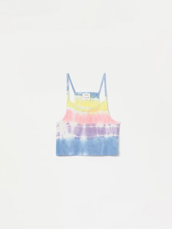 Camiseta crop tie dye de tirantes