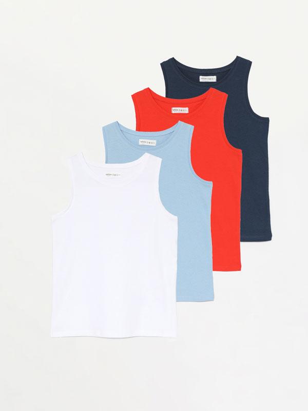 4-pack of plain vest tops