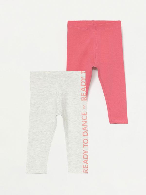 2-pack of long contrast leggings