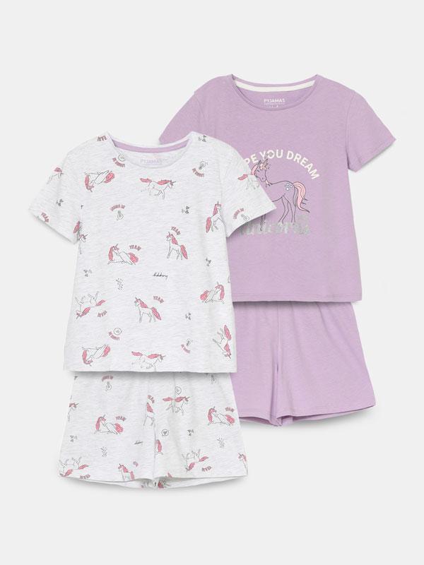Pack of 2 printed pyjama sets