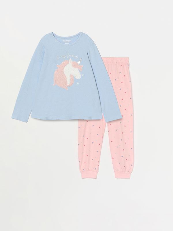 Printed pyjama set with fuzzy detail