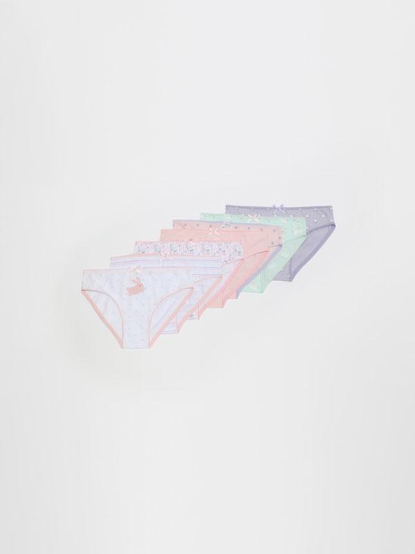 Pack de 7 cuecas clássicas com estampado de coelhinhos