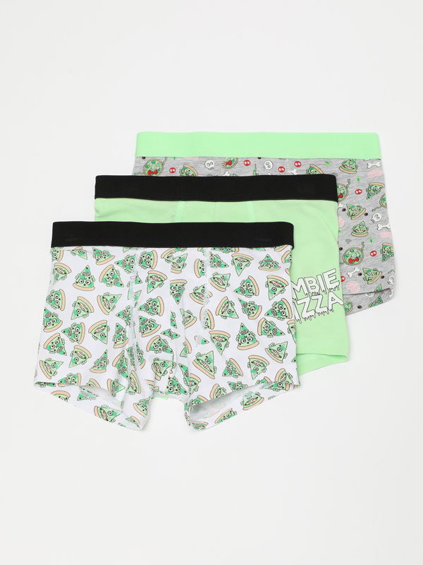 3-Pack of zombie print boxer shorts