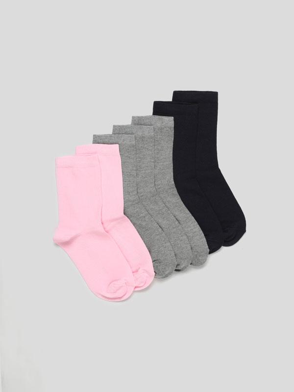 Pack de 7 pares de meias compridas de cores básicas