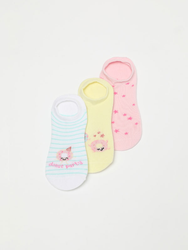 Pack of 3 pairs of donut print socks