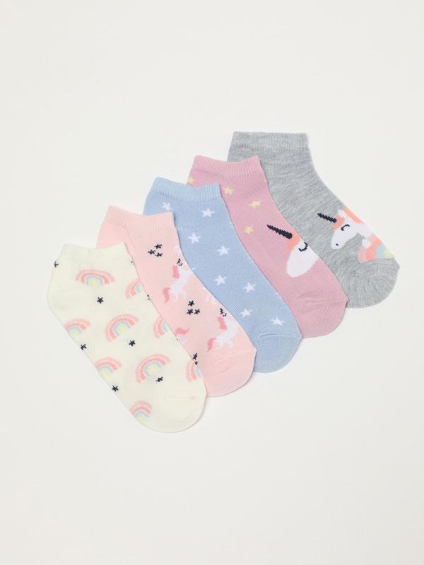 Pack de 5 pares de meias soquetes com unicórnios