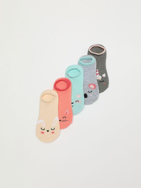 Pack de 5 pares de meias de tipo invisível com estampados