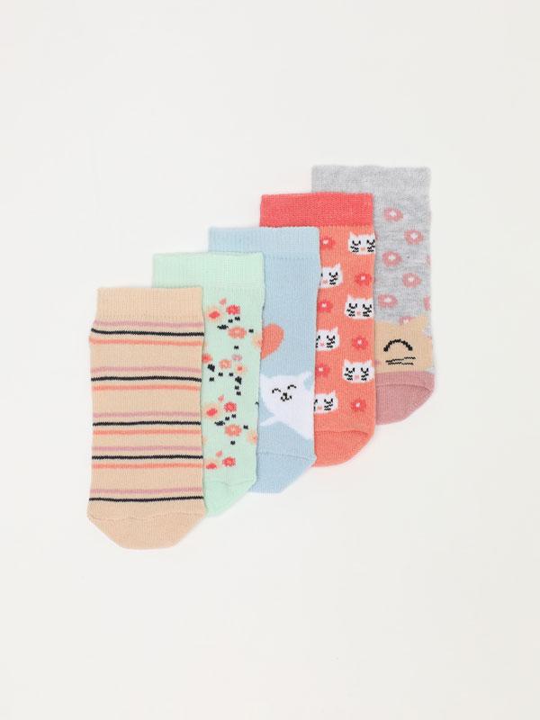 Pack de 5 pares de calcetines de flores y gatos