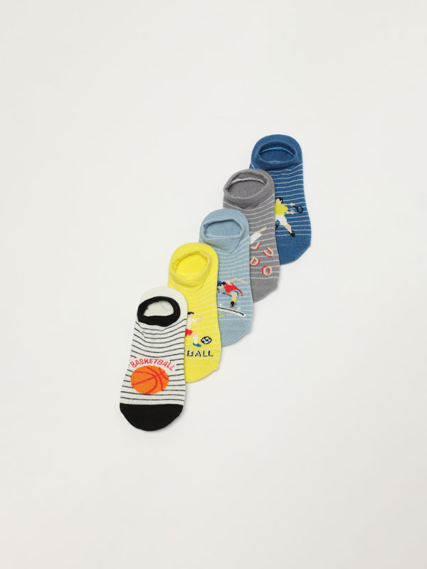 Pack de 5 pares de meias estampadas de tipo invisível