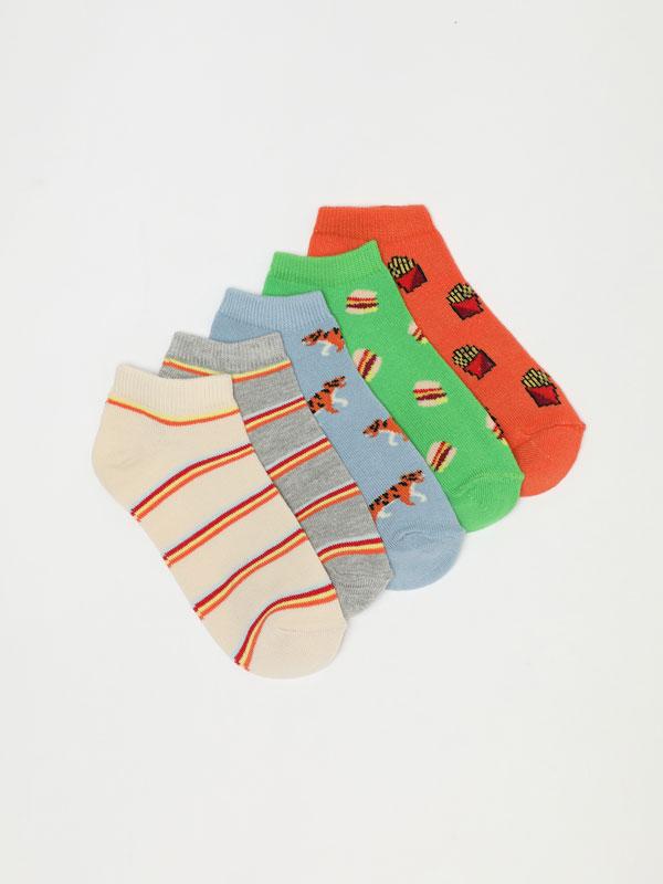 Pack de 5 pares de meias soquetes estampadas