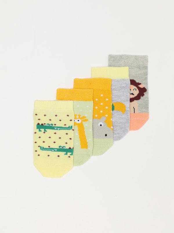 Pack de 5 pares de calcetines de animales de la jungla