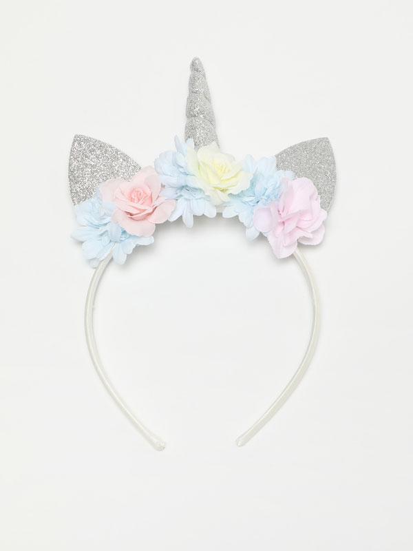 Shiny floral unicorn headband