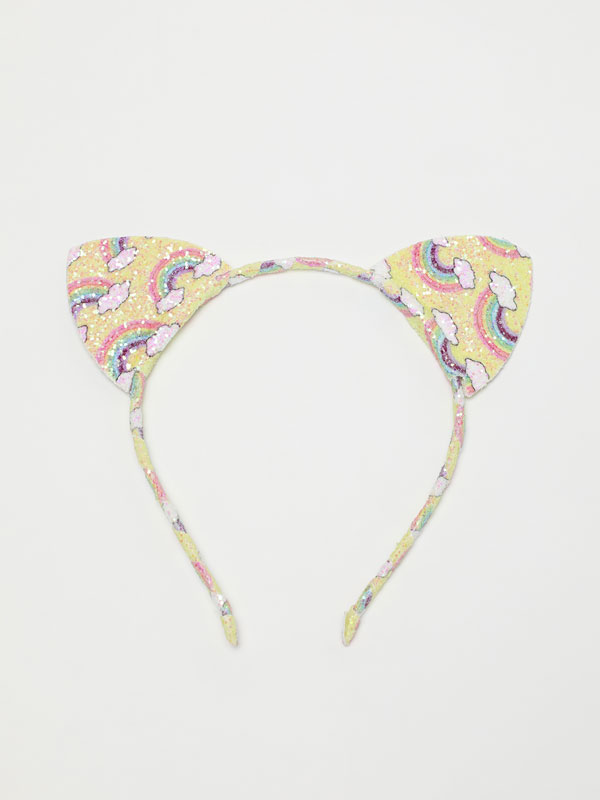 Shiny headband with rainbow and sequin ears