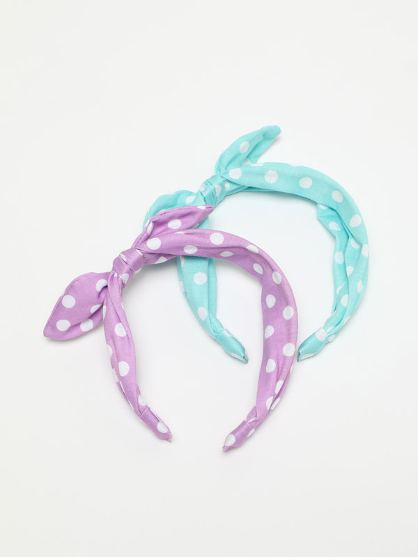 Pack of 2 polka dot headbands with bow