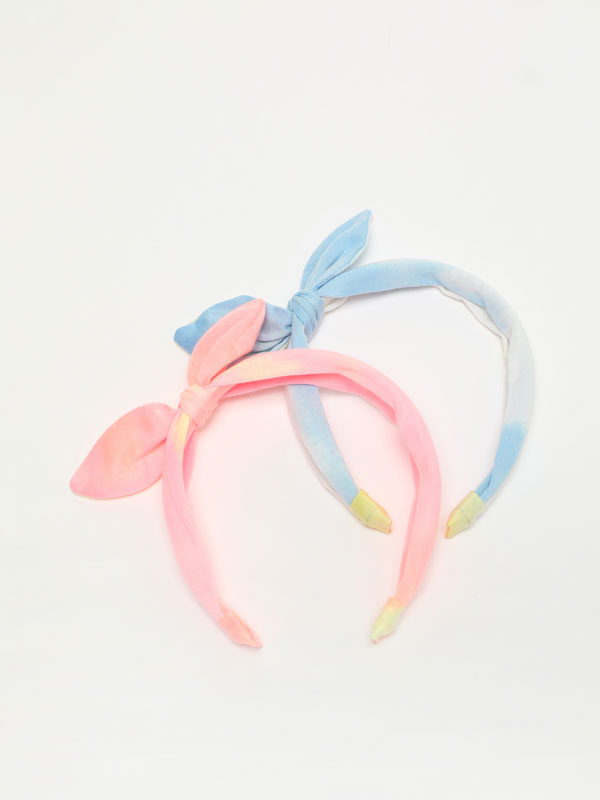 Pack of 2 tie-dye headbands with bow